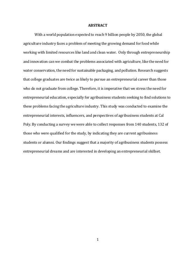 1 ABSTRACT  Withaworldpopulationexpectedtoreach9billionpeopleby2050,theglobal agricultureindustryfaces...