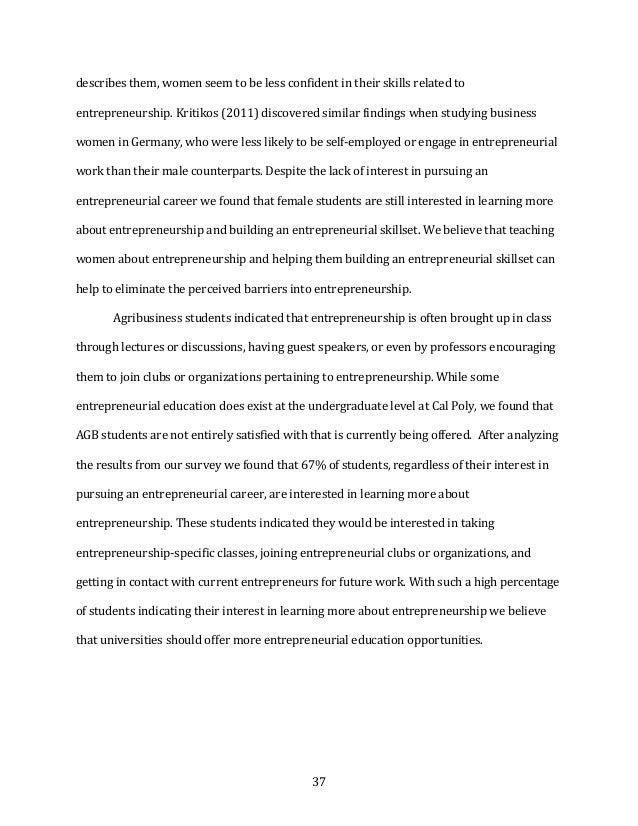 37 describesthem,womenseemtobelessconfidentintheirskillsrelatedto entrepreneurship.Kritikos(2011)discover...