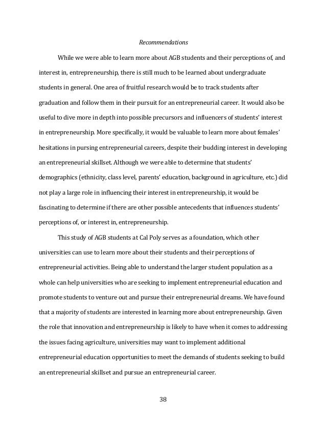 38 Recommendations  WhilewewereabletolearnmoreaboutAGBstudentsandtheirperceptionsof,and interestin,ent...