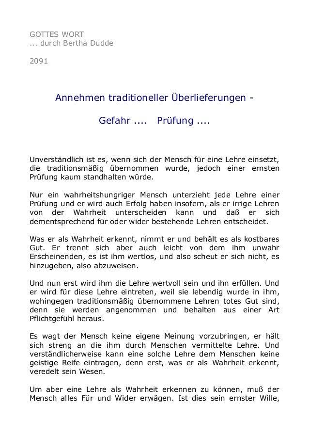 GOTTES WORT ... durch Bertha Dudde 2091  Annehmen traditioneller Überlieferungen Gefahr ....  Prüfung ....  Unverständlich...