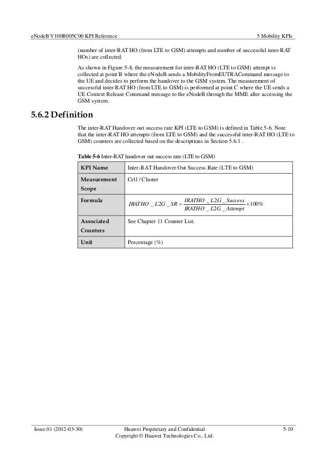 eNodeB V100R005C00 KPI Reference 5 Mobility KPIs Issue 01 (2012-03-30) Huawei Proprietary and Confidential Copyright © Hua...