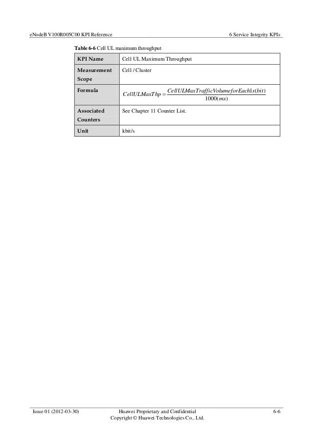 eNodeB V100R005C00 KPI Reference 6 Service Integrity KPIs Issue 01 (2012-03-30) Huawei Proprietary and Confidential Copyri...