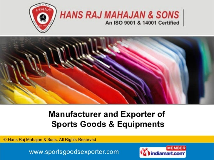 Manufacturer and Exporter of  Sports Goods & Equipments