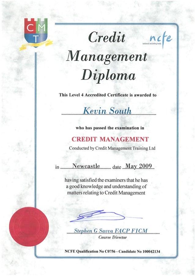 management diploma credit management diploma