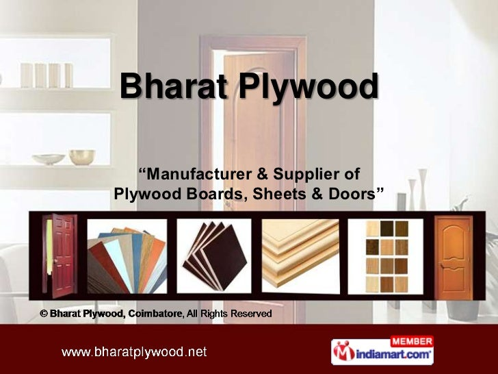 """Bharat Plywood   """"Manufacturer & Supplier ofPlywood Boards, Sheets & Doors"""""""