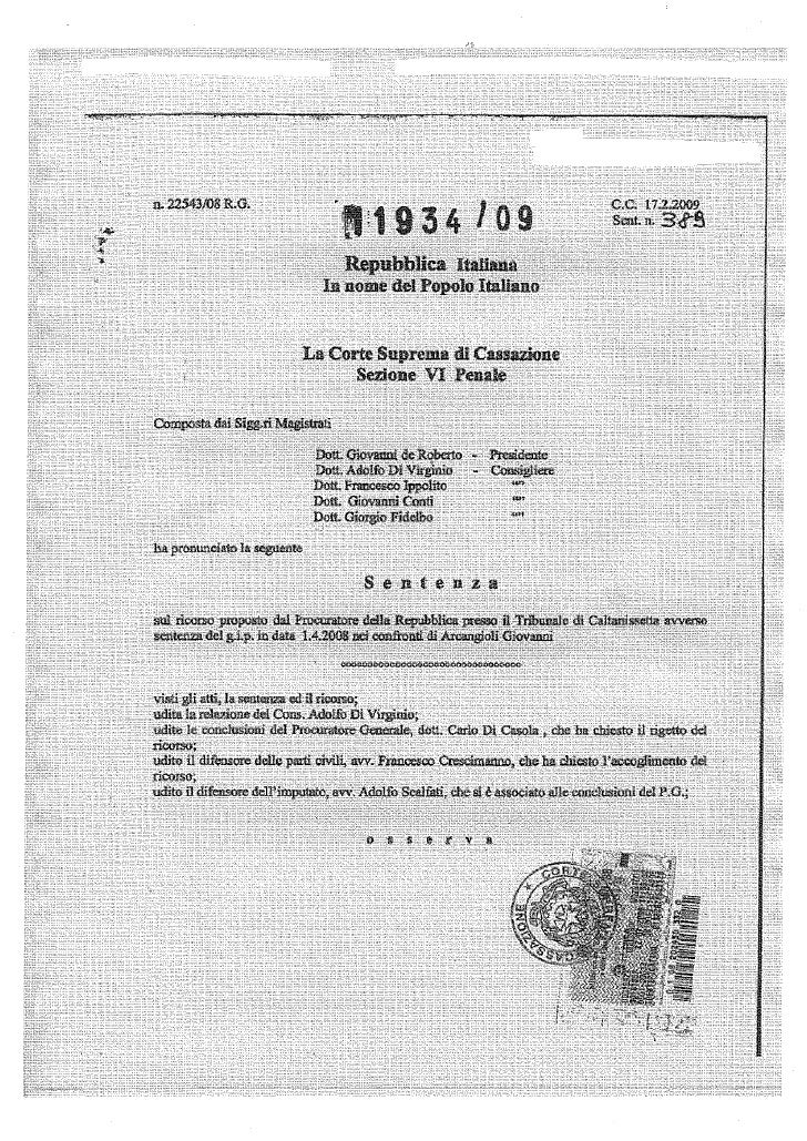 sentenza cassazione   giovanni arcangioli - 17 febbraio 2009
