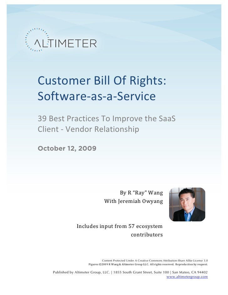Customer	   Bill	   Of	   Rights:	           Software-­‐as-­‐a-­‐Service	           39	   Best	   Practices	 ...