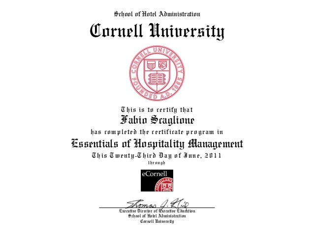 Certificate Hospitality Management