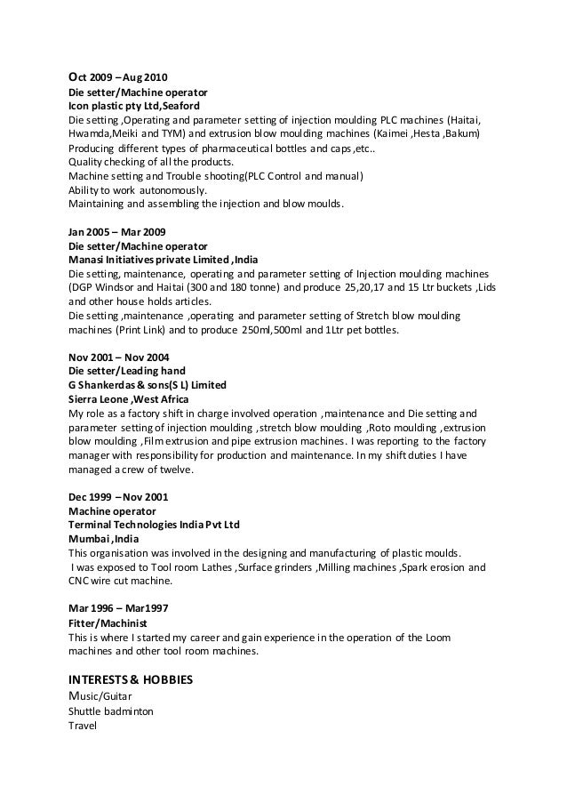 machine operator duties - Machine Operator Job Description For Resume