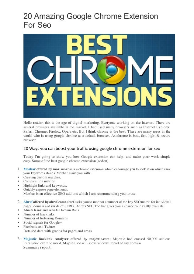 20 amazing google chrome extension for seo