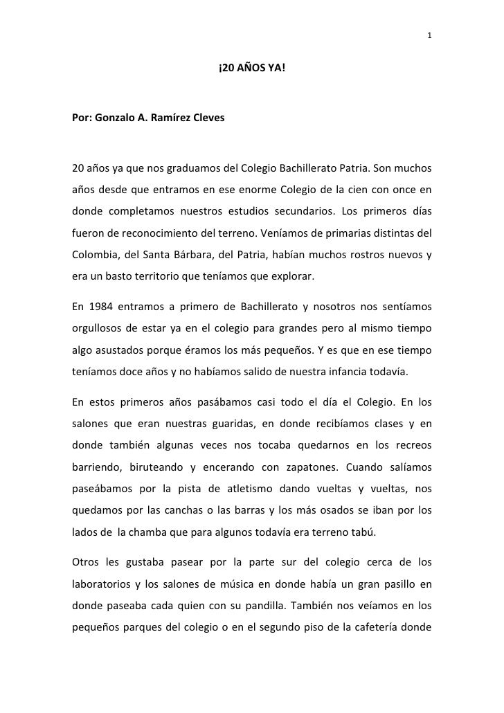¡20 AÑOS YA!<br />Por: Gonzalo A. Ramírez Cleves<br />20 años ya que nos graduamos del Colegio Bachillerato Patria. Son mu...