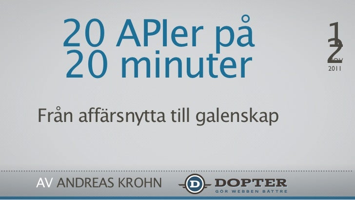 20 APIer på                    1                                  2   20 minuter                     NOV                  ...