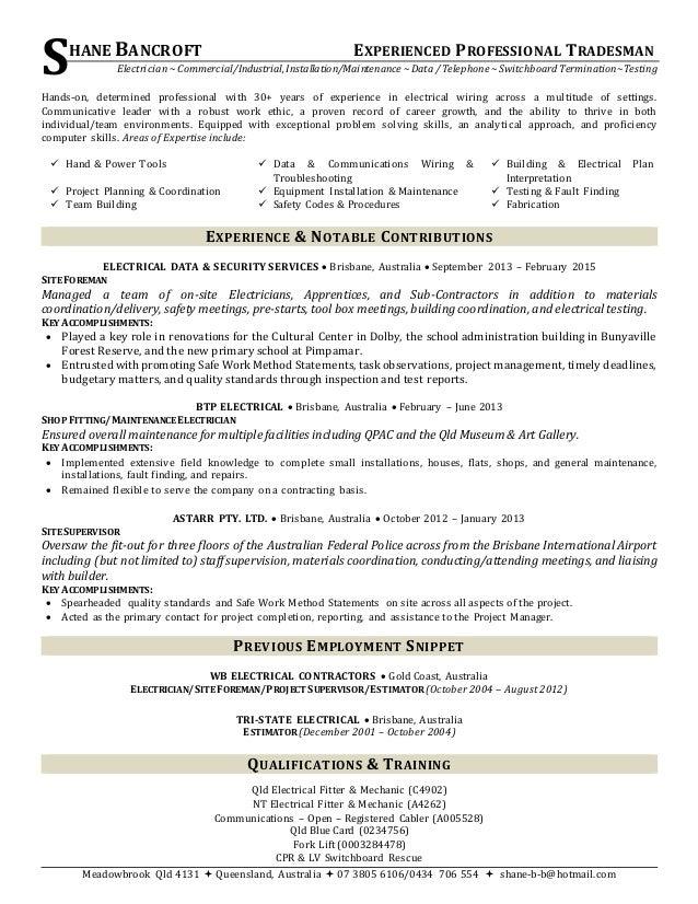 electrical plan australia resume  resume