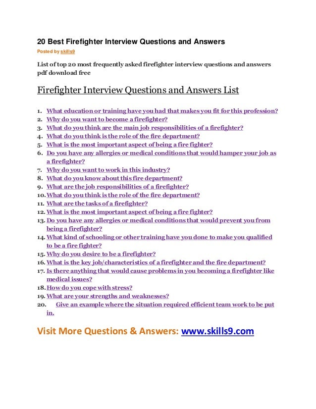 20 best firefighter interview questions and answers