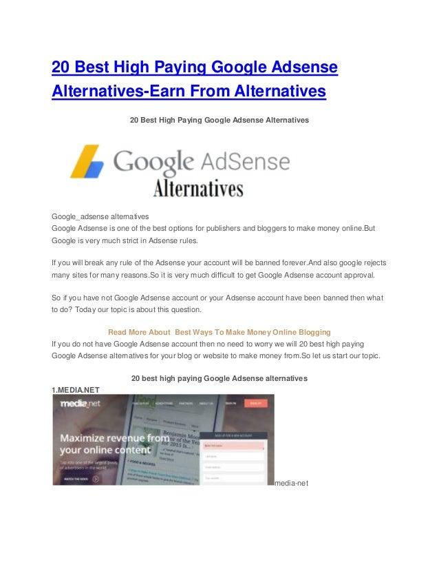 20 Best High Paying Google Adsense Alternatives