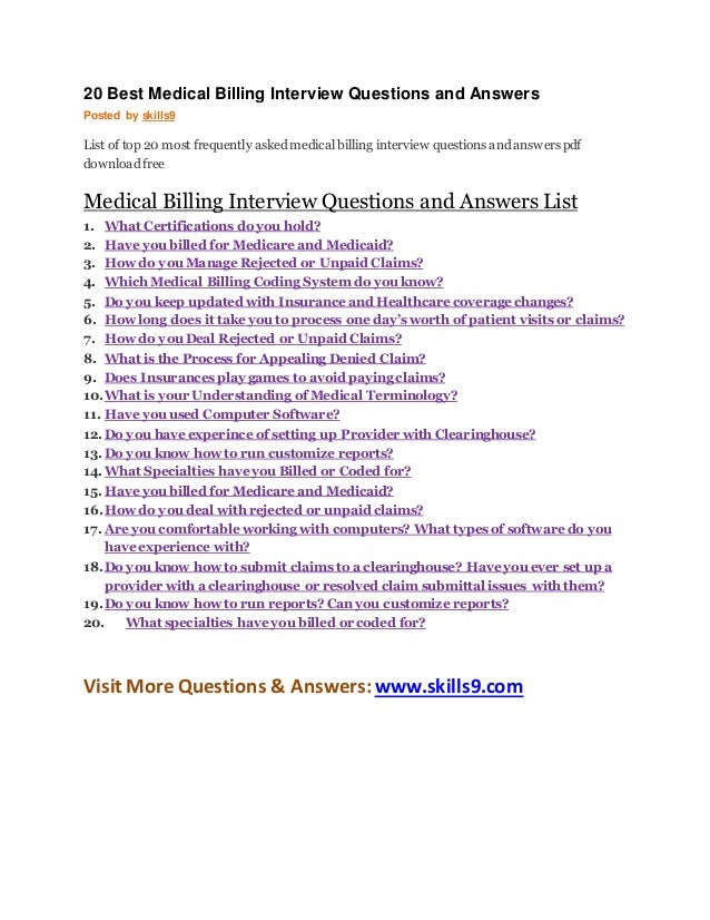 Medical Coding Interview Questions And Answer 20 Best Billing Answers