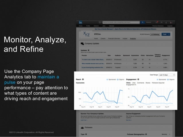 ©2013 LinkedIn Corporation. All Rights Reserved. Monitor, Analyze, and Refine Use the Company Page Analytics tab to mainta...