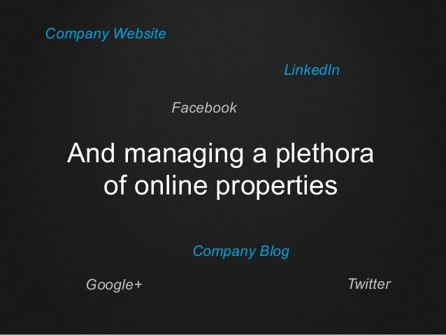 And managing a plethora of online properties Company Website LinkedIn Facebook Google+ Twitter Company Blog