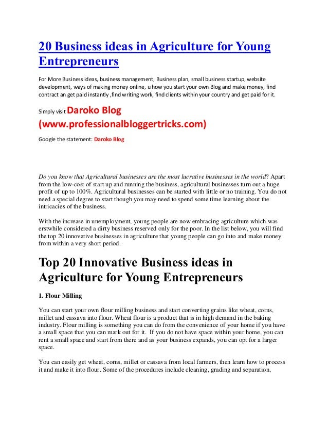 Business Ideas In Agriculture For Young EntrepreneursBusiness Ide
