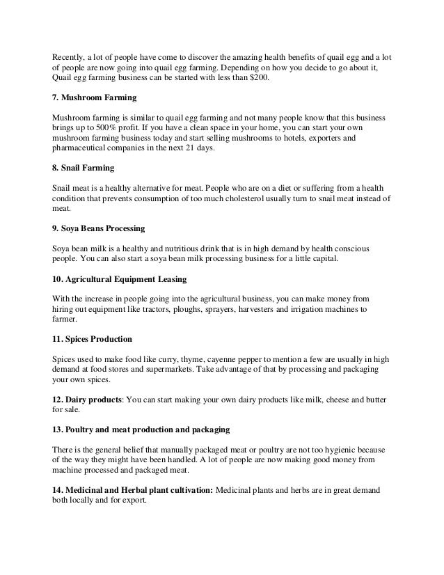 20 business ideas in agriculture for young entrepreneurs(Business ide…
