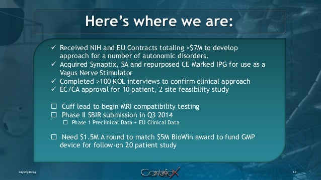 Here's where we are:  Received NIH and EU Contracts totaling >$7M to develop approach for a number of autonomic disorders...