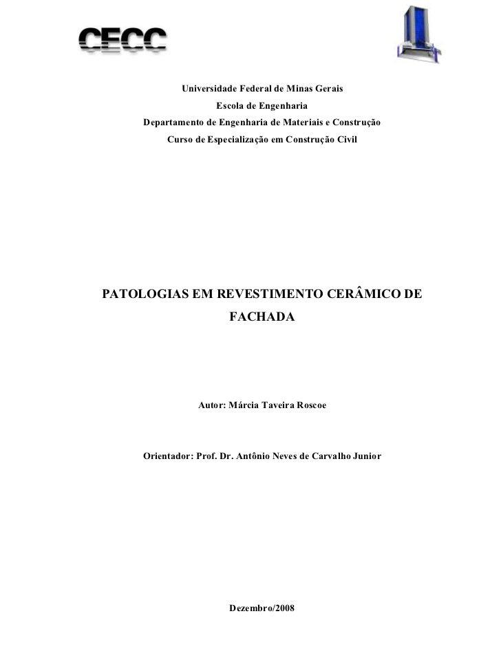 Universidade Federal de Minas Gerais                    Escola de Engenharia    Departamento de Engenharia de Materiais e ...