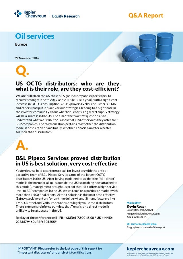 Q&A report, OCTG distribution model