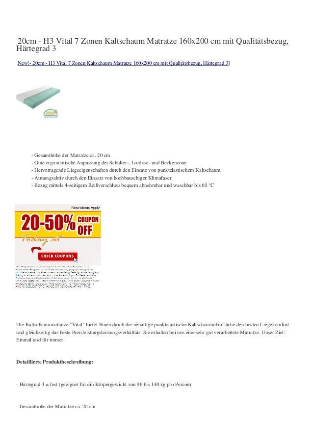 20cm - H3 Vital 7 Zonen Kaltschaum Matratze 160x200 cm mit Qualitätsbezug,Härtegrad 3New!- 20cm - H3 Vital 7 Zonen Kaltsch...