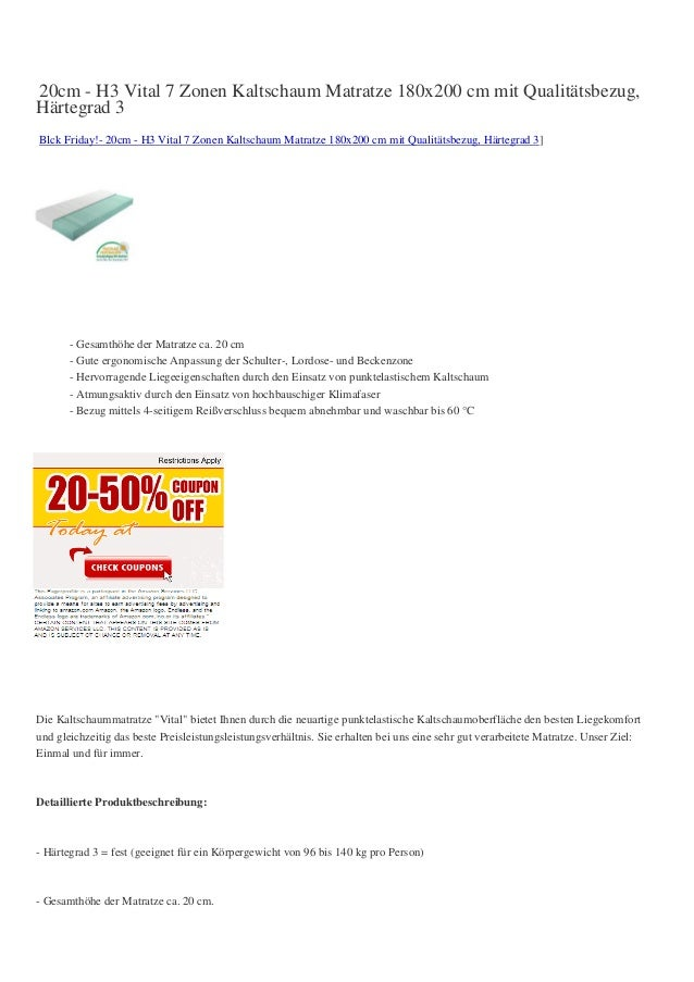 20cm - H3 Vital 7 Zonen Kaltschaum Matratze 180x200 cm mit Qualitätsbezug,Härtegrad 3Blck Friday!- 20cm - H3 Vital 7 Zonen...