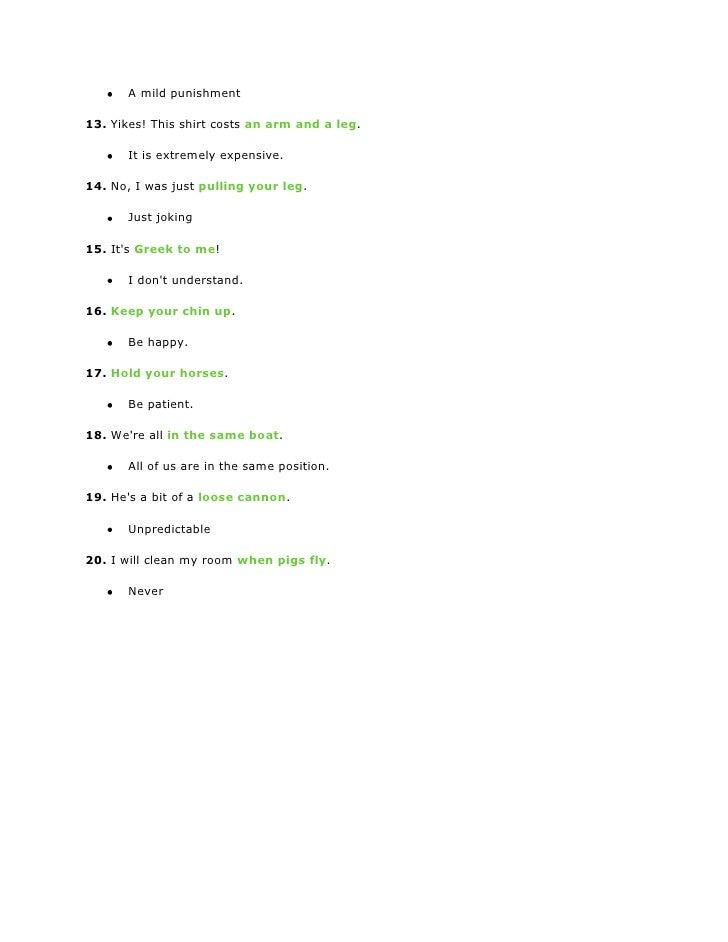 20 Common Idiomatic Expressions