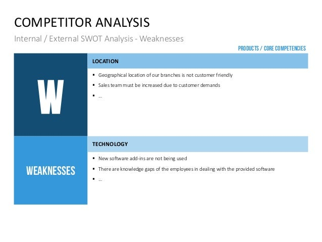 COMPETITOR ANALYSIS Internal / External SWOT Analysis - Weaknesses W LOCATION  Geographical location of our branches is n...