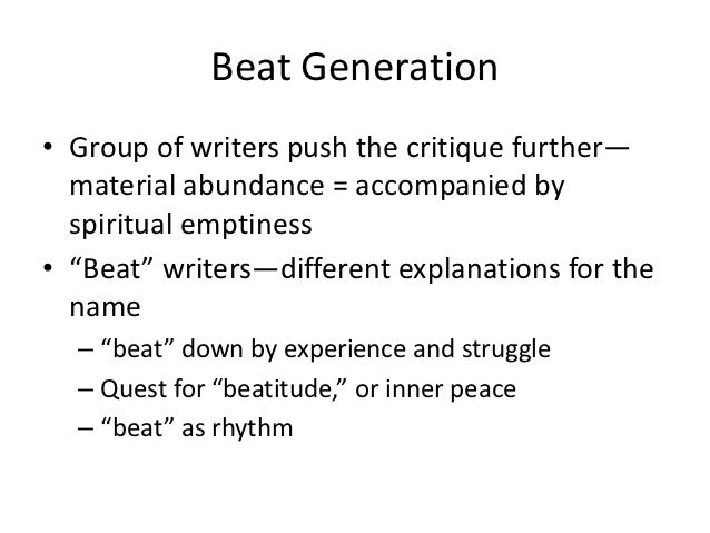 an analysis of the themes and values of allen ginsbergs poem beat generation Allen ginsberg - poems - publication date: 2012 this poem is one of the classic poems of the beat generation the poem, which was dedicated to writer carl solomon value ginsberg and shig murao, the city lights manager who was jailed for.