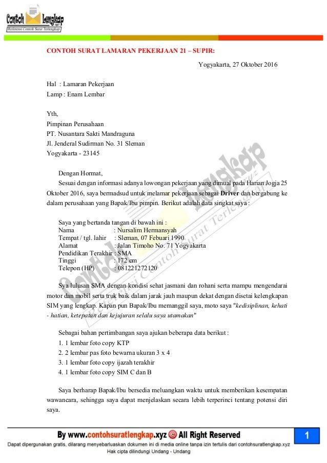 contoh surat lamaran kerja driver bank mandiri