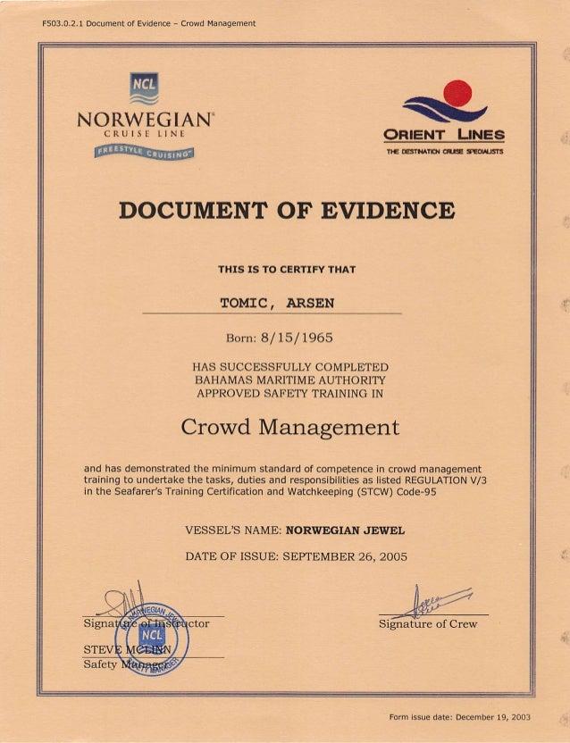 "FSO3.0.2.1 Document of Evidence — Crowd Management  NCL  ~ O NORWEGIAN"" M  CRUISE LINE Qfi| EN'| "" | _|NEs    naozsrmrniaus..."