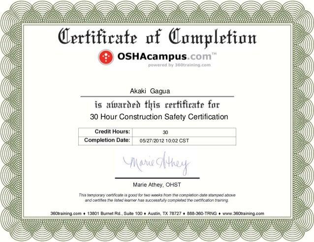 Akaki Gagua OSHA Certificate