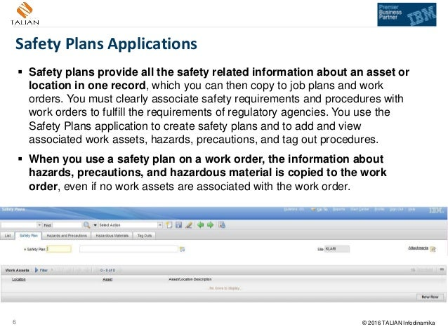 Using Ibm Maximo Safety Plans