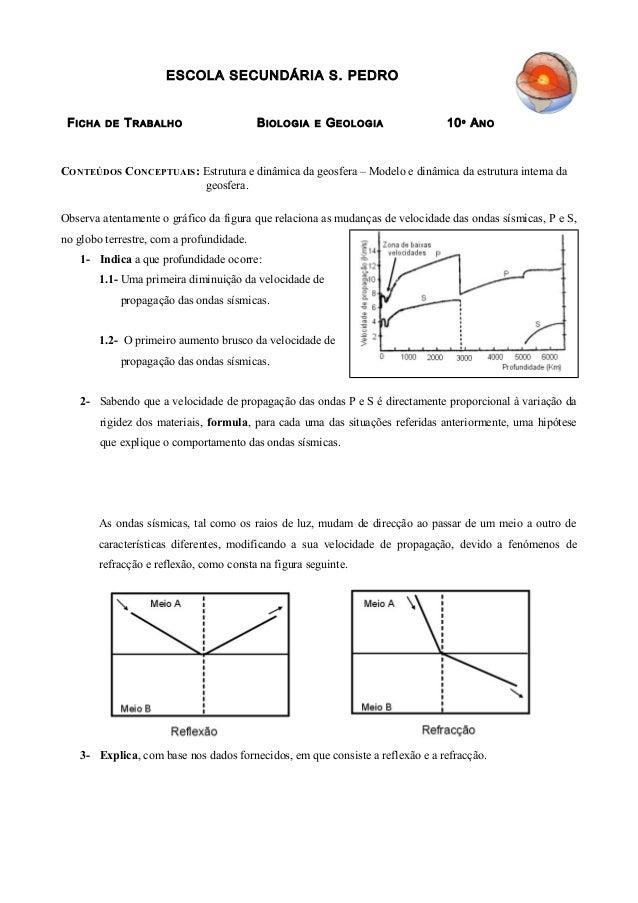 ESCOLA SECUNDÁRIA S. PEDRO FICHA DE TRABALHO BIOLOGIA E GEOLOGIA 10º ANO CONTEÚDOS CONCEPTUAIS: Estrutura e dinâmica da ge...