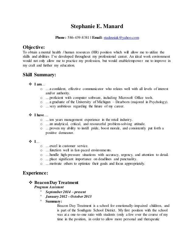 resume of stephanie e manard20141214 - Skills For Resume Manager Craft Store