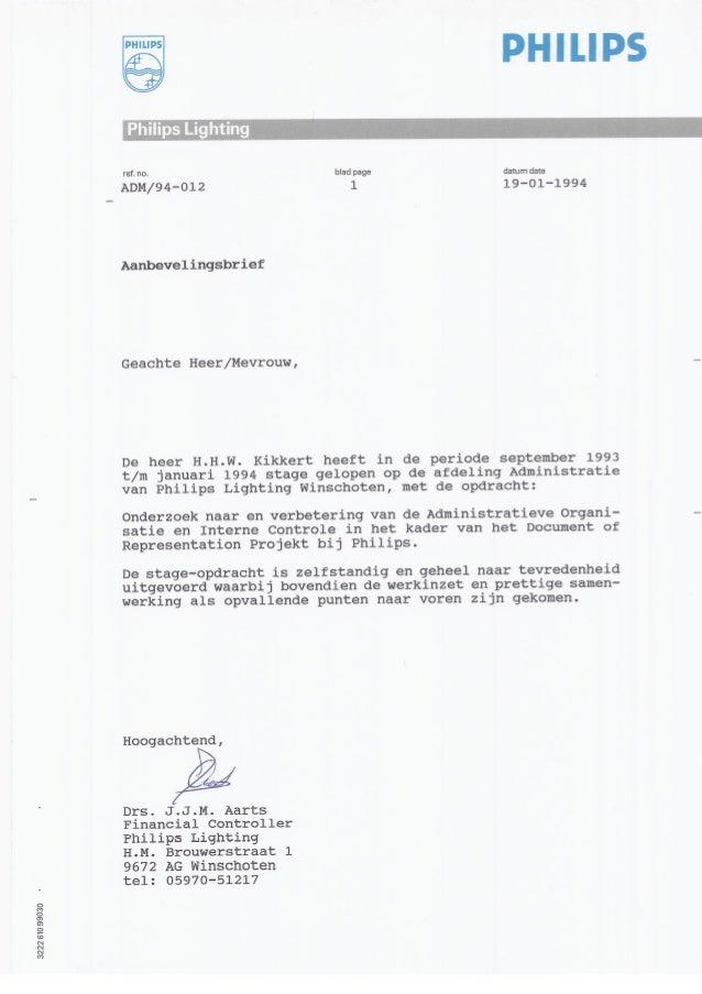 voorbeeld aanbevelingsbrief stage Aanbevelingsbrief Philips