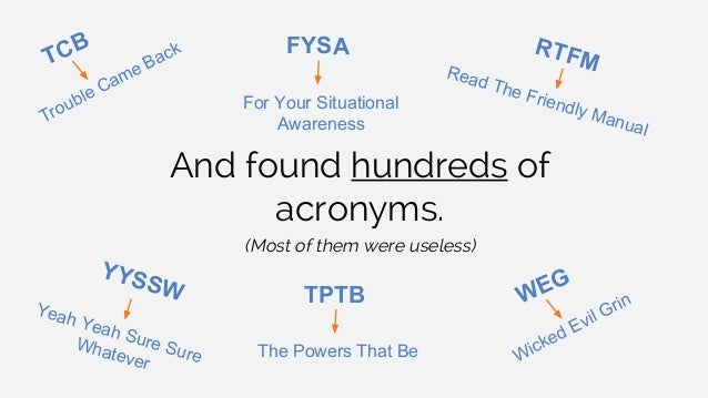 And found hundreds of acronyms. (Most of them were useless) TCB YYSSW RTFMRead The Friendly Manual Trouble Came Back WEG W...