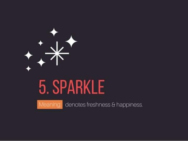 SPARKLE: denotes freshness & happiness.