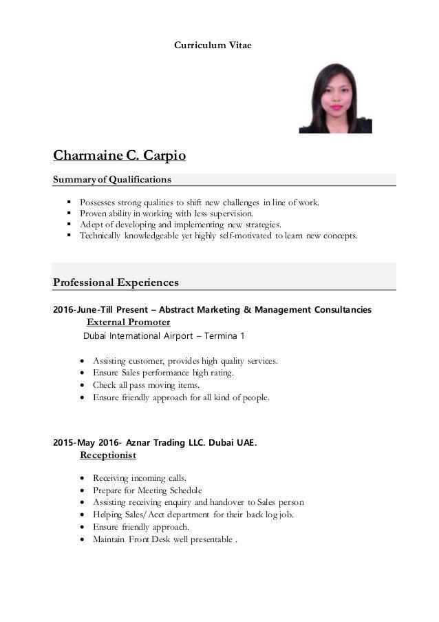 Cv Charmaine Carpio Receptionist