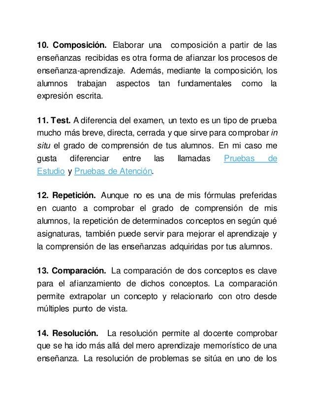10. Composición. Elaborar una composición a partir de las enseñanzas recibidas es otra forma de afianzar los procesos de e...
