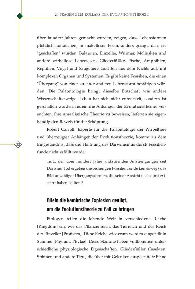 20 fragen zum kollaps der evolutions theorie. german deutsche
