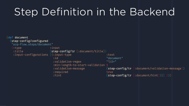 Step Definition in the Backend