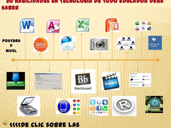 20 Habilidades en Tecnología de todo educador debesaberPOSTURA   Y NIVEL  <<<<De clic sobre las