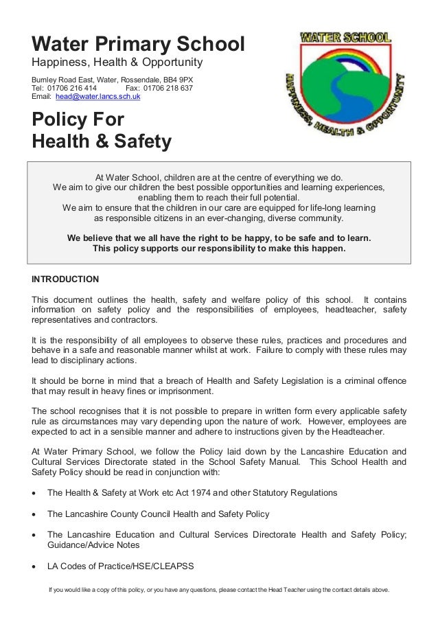 preschool health policy 20 health amp safety policy 9 10 958