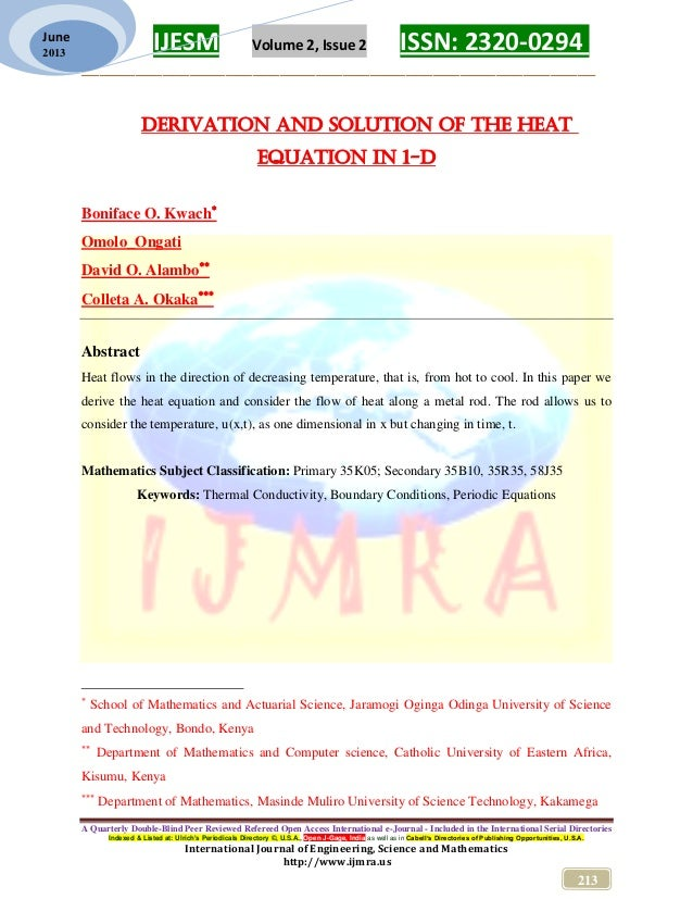 Derivation and solution of the heat equation in 1-D