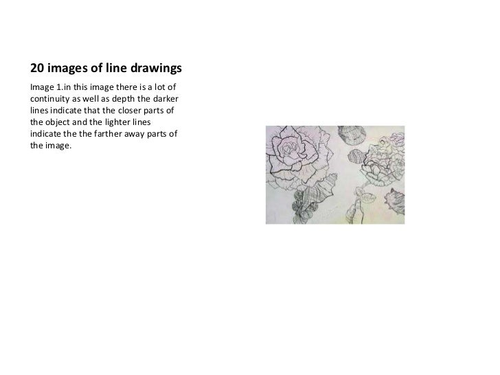 20 images of line drawings <br />Image 1.in this image there is a lot of continuity as well as depth the darker lines indi...