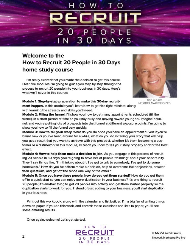 How To Enroll 20 People In 30 Days